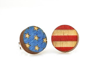USA Flag Studs -  Laser Cut Earrings from Reforested Wood