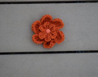 orange flower clip//clippie//hair clippie