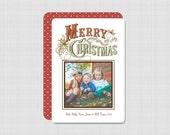 White Vintage Merry Christmas Photo Card