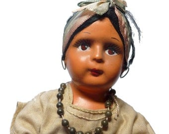 """Antique 1920s 1930s Composition & Cloth Ideal Mexico 12"""" Doll w/ Original Outfit"""