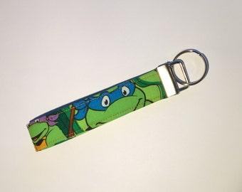 TMNT Ninja Turtles Key Fob, Key Chain, Key Ring, Gifts under 10, Purse Accessory