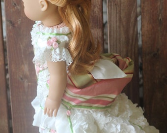 Elegant Roses, 1870's style 2 piece ball gown for 18in American dolls