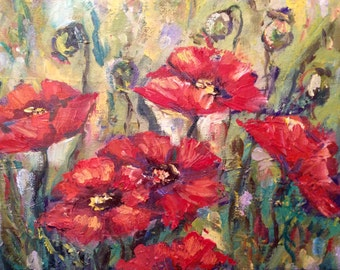 """Red poppies oil original floral painting 8 x10"""""""