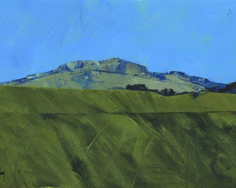 Semi-abstract landscape original painting - Blue Cambrian mount