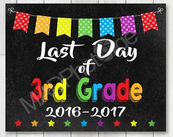Last Day of 3rd Grade Chalkboard sign, Instant Download, Last Day of School, Kindergarten graduation invitation, Grad sign, class of 2017