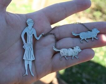 Vintage Flapper Girl Walking Dogs Brooch Pin