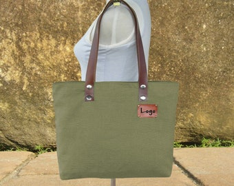 Personalized canvas tote bag, leather strap tote bag, women's shoulder bag with unique tag