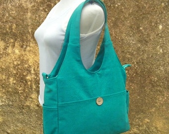 March Sale 10% off turquoise canvas hand bag, canvas messenger bag, diaper bag, tote bag for ladys