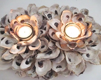 Nautical Two Votive Oyster Shell Candle