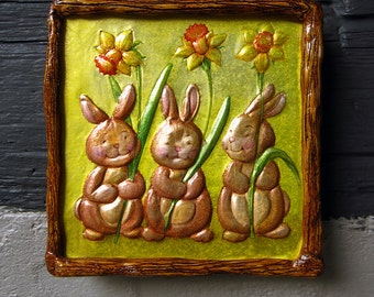 Kids room decoration, gifts for kids, embossed wall decor bunnies for kids room. Cute bunnies decoration