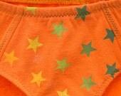 Orange Rainbow Stars Boy-Cut Underwear - Recycled Cotton - Women's 2 - Ready to Ship