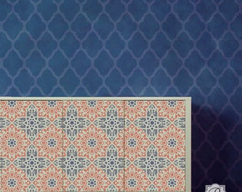 Zahara Small Stencil for DIY Wallpaper Look