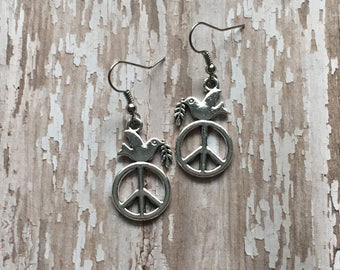 Peace dove dangle earrings