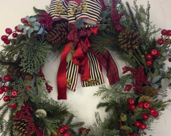 Christmas Wreath with Painted Star BELIEVE