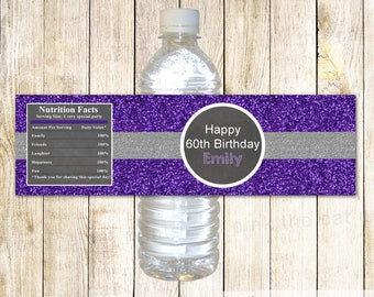 Purple Silver Glitter Bottle Labels Birthday Bottle Labels Printable Bottle Wrappers Purple Silver Glitter Birthday Party ANY AGE
