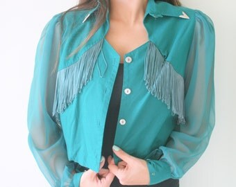 Vintage FRINGE Designer Jacket...size medium large womens....1970s. twiggy. retro. womens. cowgirl. business. green jacket. crop. western