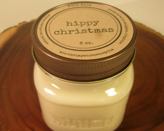Hippy Christmas 8 oz Soy Mason Jar Candle //  Wood Wick //  Christmas/Holiday/Winter Scent