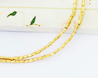 90 of Karen hill tribe 24k Gold Vermeil Style Faceted Beads 1.2x2.5 mm. 8.5 inches :vm0883