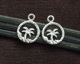 2 of 925 Sterling Silver Palm Tree Charms 10mm . , Polish Finished.  :tm0165
