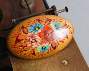 Vintage hand painted wood brooch, with russian style decor