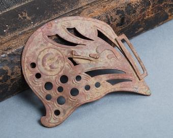 Antique brass plate with original Art Nouveau style decor, pendant, connector, finding, dark patina