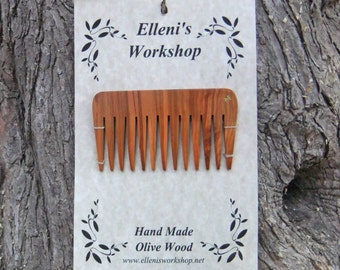 Olive Wood hair comb, hand carved from olive wood