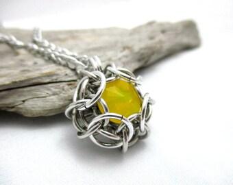 Swarovski Crystal Pendant - Phaedra Chainmaille Pendant - Swarovski Crystal Chainmail Pendant - Yellow Opal
