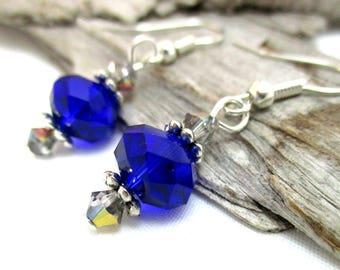 Sapphire Crystal Drop Earrings - Crystal Earrings - Swarovski Crystal Earrings - Earrings for Sensitive Ears
