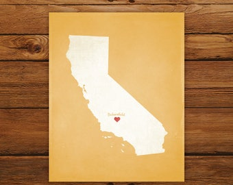 Customized California State Art Print, State Map, Heart, Silhouette, Aged-Look Personalized Print