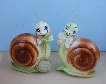 RARE Vintage Pair of Enesco Ceramic Snails with Original Hang Tag, Snappy the Snail