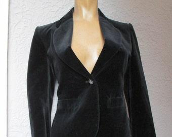 70s Vintage BlackVelvet Blazer Jacket small