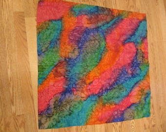 "Vintage Rainbow Watercolor Silk Scarf, 34"" x 34"""