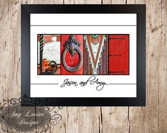 "Alphabet Photography, Letter Art Custom ""Love"" with Color letters - framed 8x10"