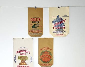 ON SALE Vintage Farmer cornmeal flour paper bag, vintage advertising, rural packaging