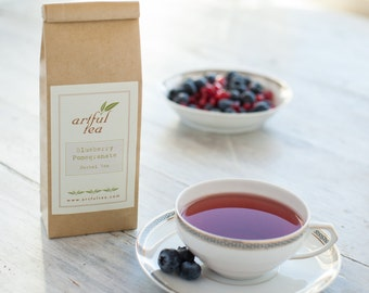 Blueberry Pomegranate Herbal Tea • 8 oz. Kraft Bag • Luxury Loose Leaf Fruit Blend
