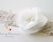 Ivory Organza and Lace Bridal Sash