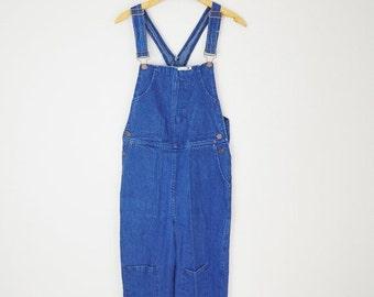 Pre-Christmas SALE - Vintage 80s Dark Wash Denim Jean CHEROKEE Overalls // womens medium
