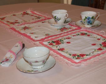 Vintage Inspired Handkerchief Table Runner; coral tones; roses; for tea party!