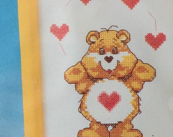 Care Bear Tenderheart Bear Cross Stitch Kit 5 x 7 NOS Care Bear Counted Cross Stitch Kit New in Package 1986 Valentines Heart