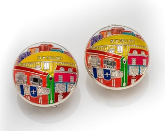 New Orleans Superdome Sterling Silver Hand Painted Earrings
