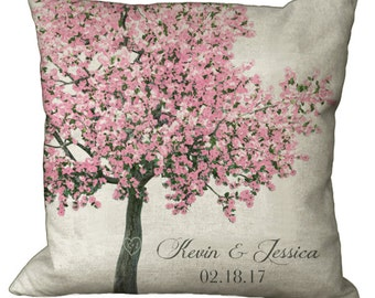 Pink Blossoming Tree with Heart and Initials in Choice of 14x14 16x16 18x18 20x20 22x22 24x24 26x26 inch Pillow Cover