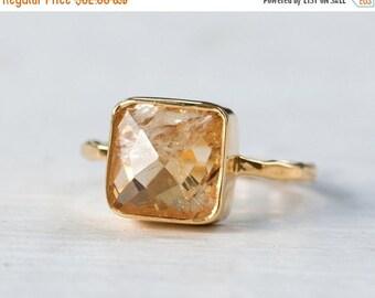 40 OFF - Citrine Ring - November Birthstone Ring - Gemstone Ring - Stacking Ring - Gold Ring - Cushion Cut Ring