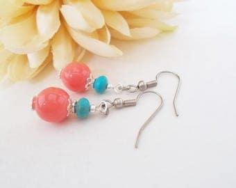 Coral and Turquoise Earrings, Beaded Jewelry, Peach Aqua Earrings, Everyday Earrings, Simple Boho Drop Earrings, Birthday Gift for Sister