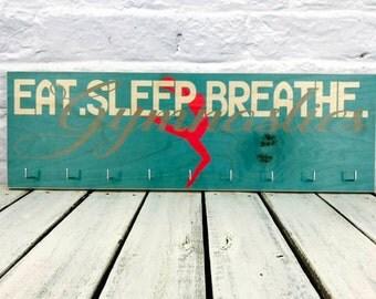 Eat Sleep Breathe Gymnastics Medal Holder, medal rack bib and medal holder, Printed on Wood Sign