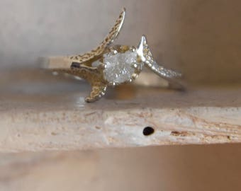 Snow white-Raw rough uncut diamond- solitaire- Promise-engagement ring-One of a kind solid- sterling silver