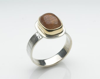 Rutilated quartz and textured silver ring  - Silver and Gold ring - size N ring or Size 7 ring - alternative wedding ring