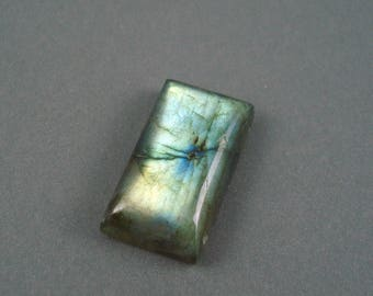 Labradorite Blue Flash Cabochon, Approximately 15MM x 30MM Rectangle Top Drilled (2)