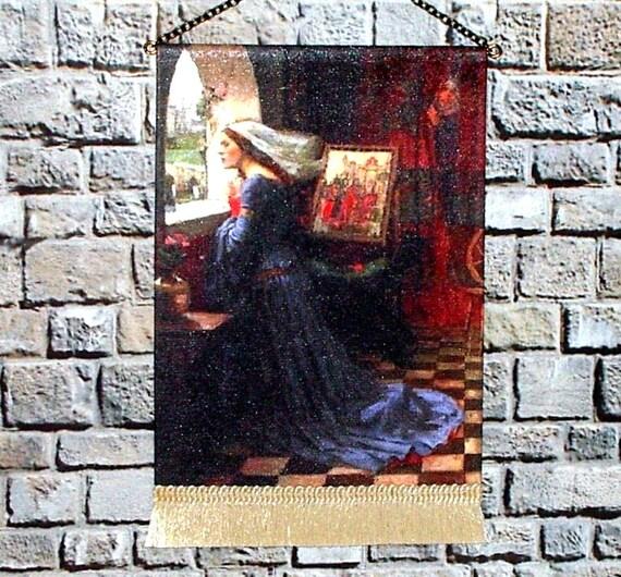 Medieval Dollhouse Tapestry, 1/12 Scale Miniature, Fair Rosamund