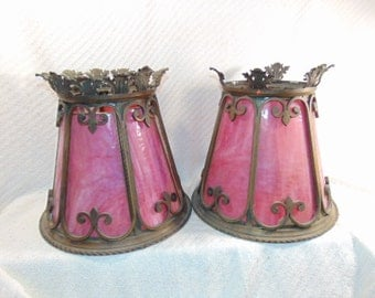 Set of 2 Antique Pink Stained Slag Glass Chandelier Light Fixture Shades