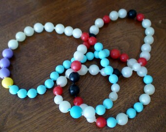 Mid-Century Pop Beads, Blue, Red, Black, White, Lavendar, My Childhood Favorite
